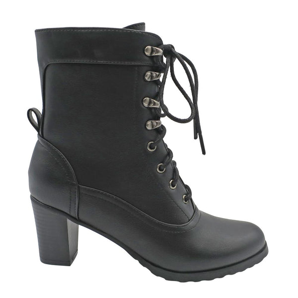 Dodo's Women's Brooklyn Military Style Lace Up Booties  - Black