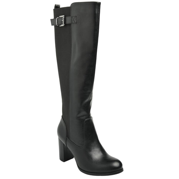 Queue Women's Hazel Mid Heel Tall Boot  - Black