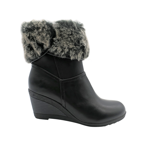Franco Rossi Women's Evie Ankle Fur Wedge Booties - Black