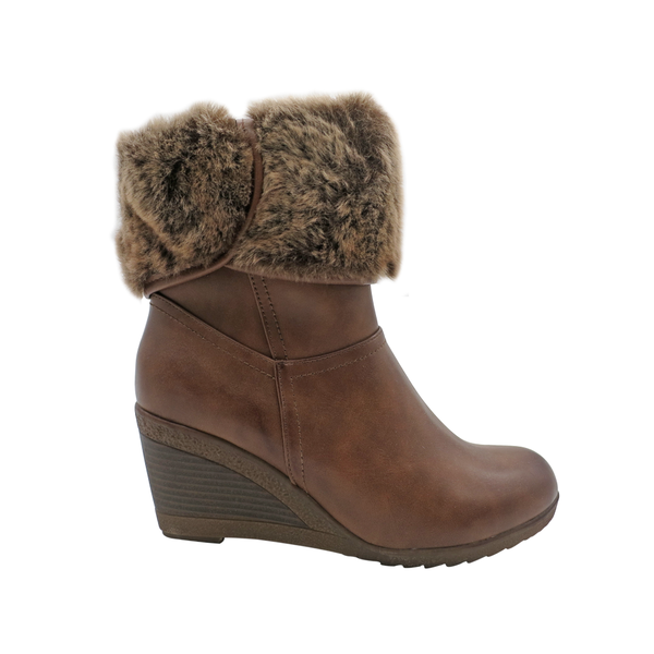 Franco Rossi Women's Evie Ankle Fur Wedge Booties - Brown