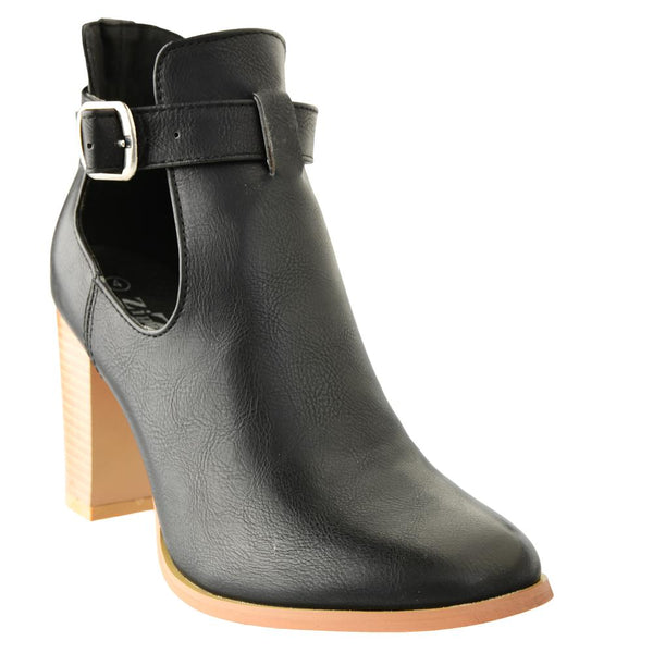 Zinnia Woman's Sawyer Cut Out Block Heel Buckle Bootie - Black
