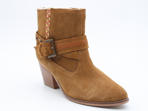 Gia Women's Raven Leather Cowgirl Bootie - Tan