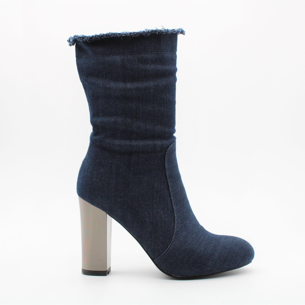 Wild Alice Women's Logan Denim Block Heel Booties - Blue