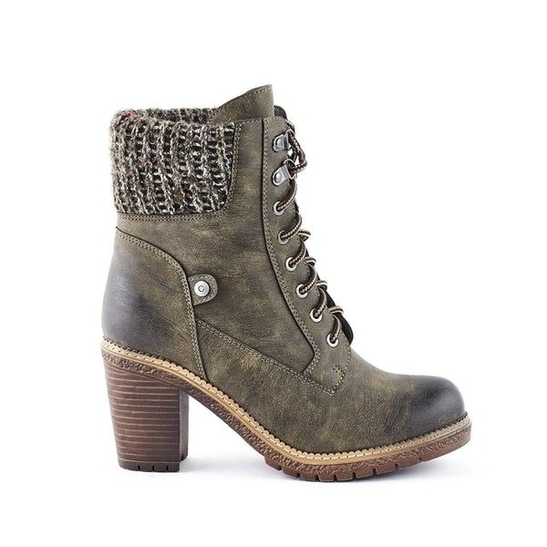 Queue Abigail Knit Collar Block Heel Lace Up Boot- Olive