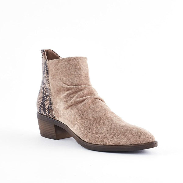 Queue Grace Snake Trim Ankle Boot - Taupe