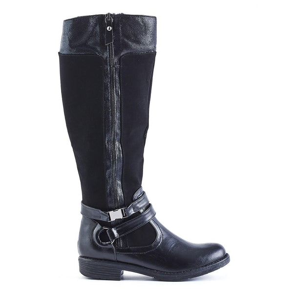 Queue Layla Buckle Trim Rider Boot - Black