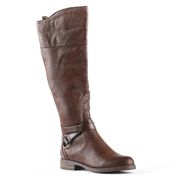 Queue Stella Ankle Strap Rider Boot - Coffee