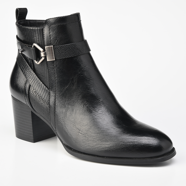 Pierre Cardin Women's Arleigh Buckle Block Heel Ankle Boots - Black