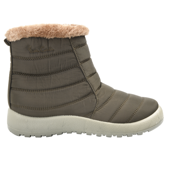Pierre Cardin Women's Zoe Nylon Faux Fur Collar Boot - Khaki