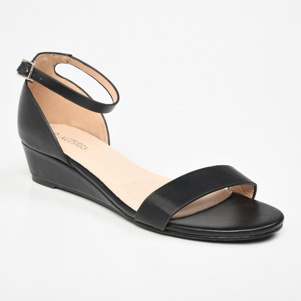 Alessio Olivia Ankle Strap Wedge Sandal - Black-Alessio-Buy shoes online