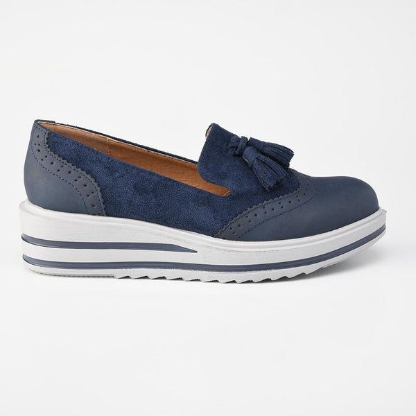 Alessio Women's Nadia Slip On Wing Tip Brogues - Navy-Alessio-Buy shoes online