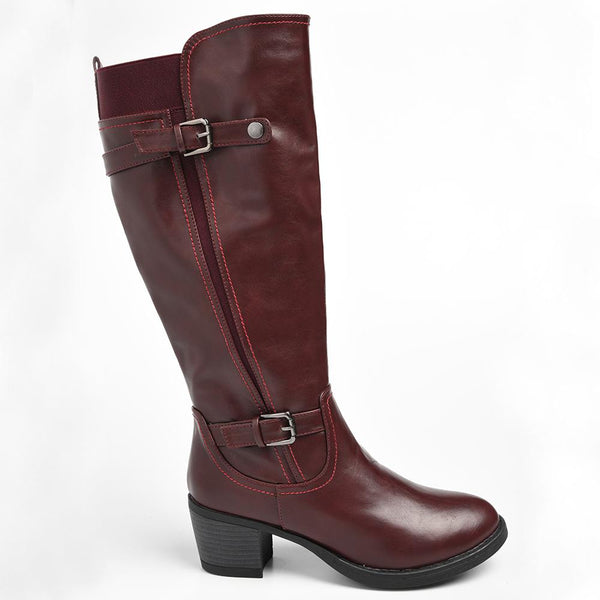 Dodo's Women's Polly Double Buckle Tall Boot - Burgundy-Dodos-Buy shoes online