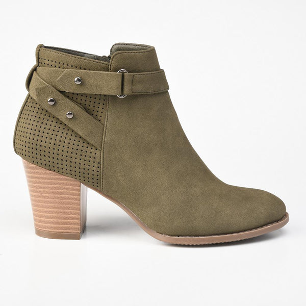 Dodo's Women's Ryden Block Heel Bootie - Khaki-Dodos-Buy shoes online