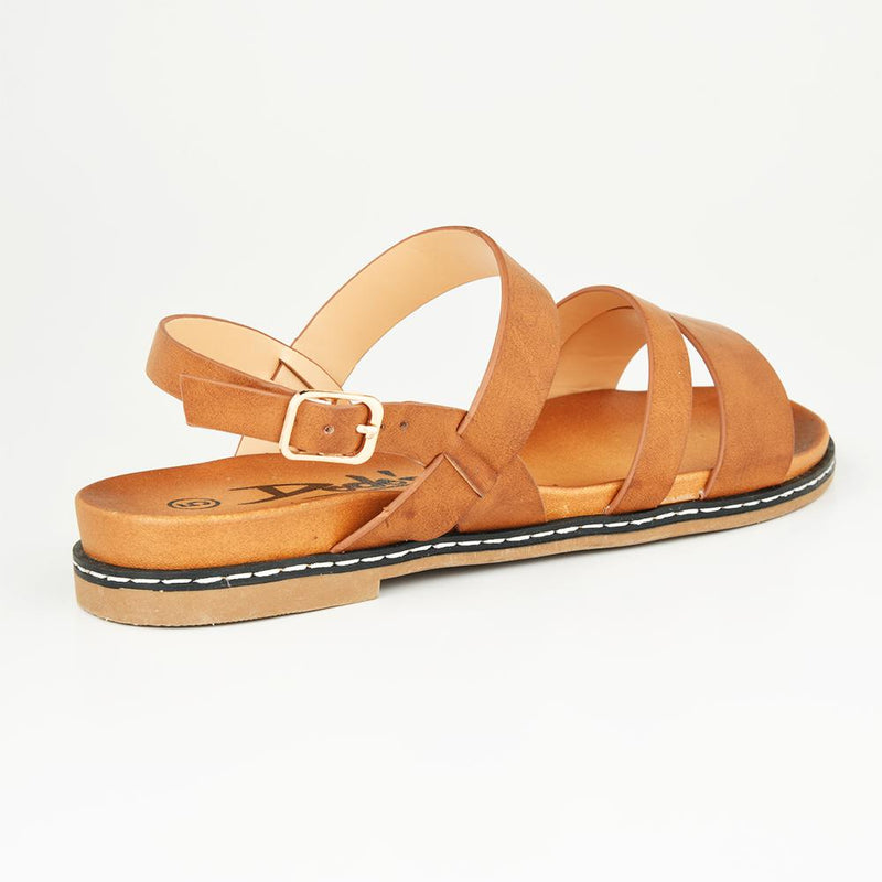 Dodo's Women's Simone Strappy Flat Sandals - Tan-Dodos-Buy shoes online