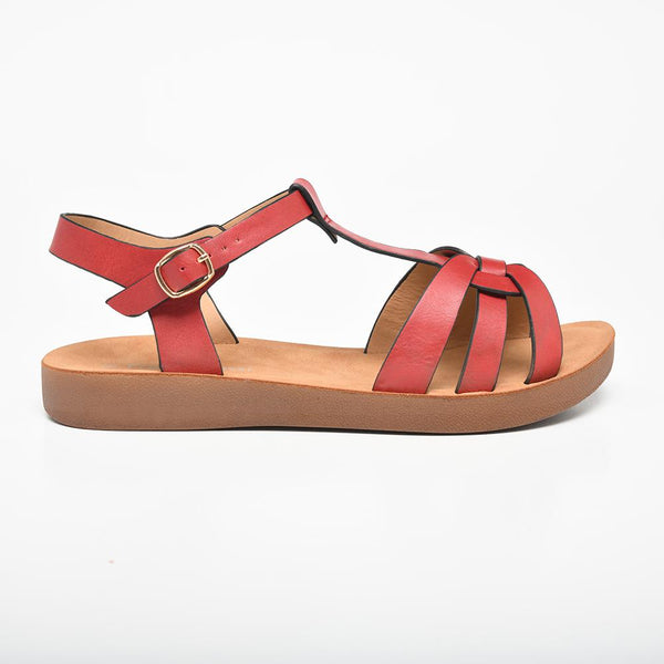 Franco Rossi Women's Evie Flat Sandals - Red-Franco Rossi-Buy shoes online