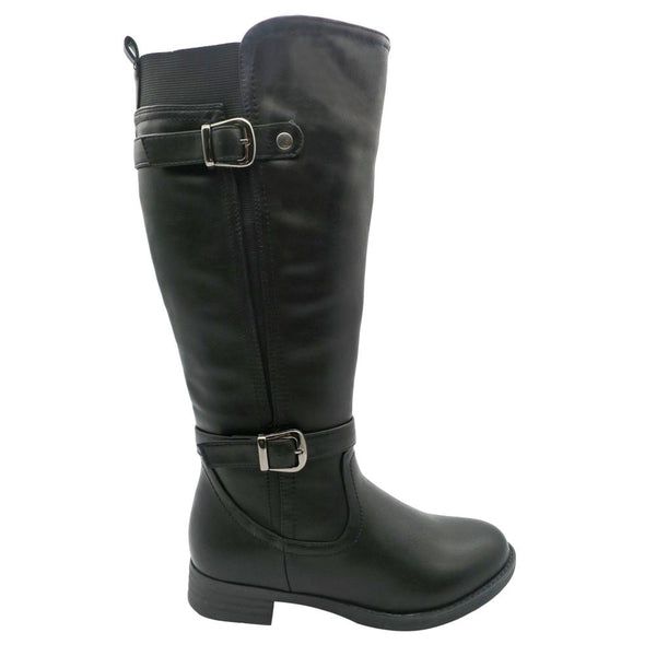 Franco Rossi Women's Laura Double Strap Tall Boot - Black-Franco Rossi-Buy shoes online