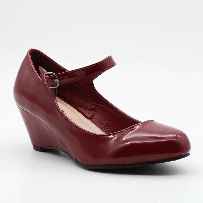 Franco Rossi Women's Lena Ankle Strap Wedge Court Shoes - Burgundy-Franco Rossi-Buy shoes online
