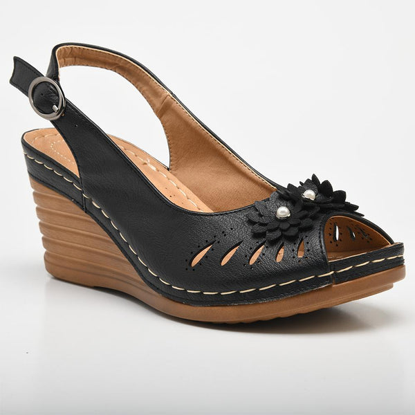 Franco Rossi Women's Torrie Slingback Wedge Sandals - Black-Franco Rossi-Buy shoes online
