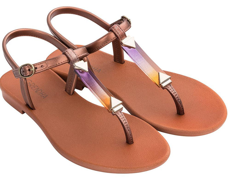 Grendha Women's Cacau Crystal Thong Sandals - Bronze-Ipanema-Buy shoes online