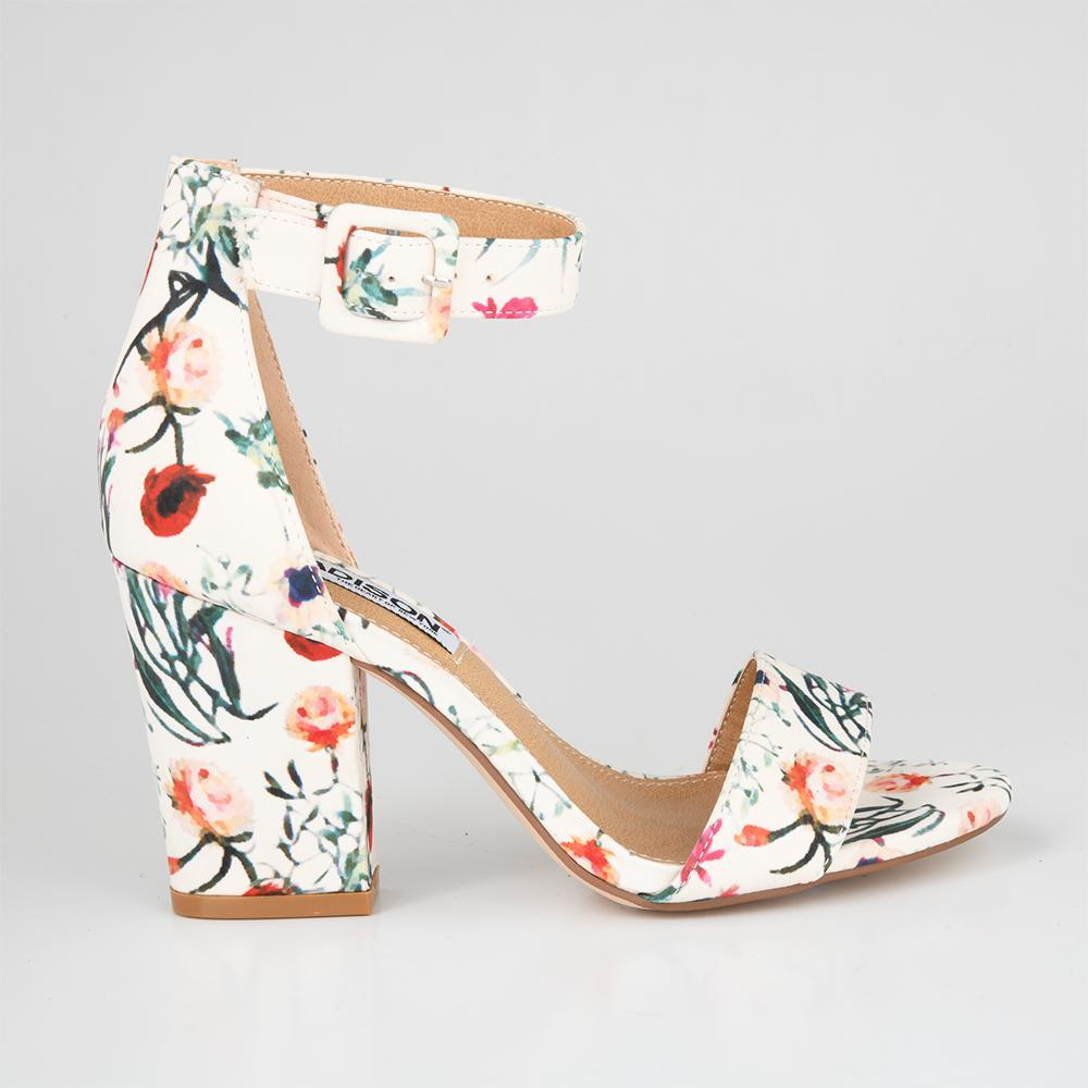 Kelsey White Floral Block Heels-Madison Heart of New York-Buy shoes online