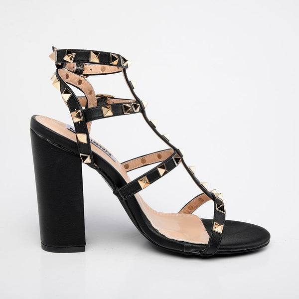 Leona T-Bar Studded Block Heels - Black-Madison Heart of New York-Buy shoes online