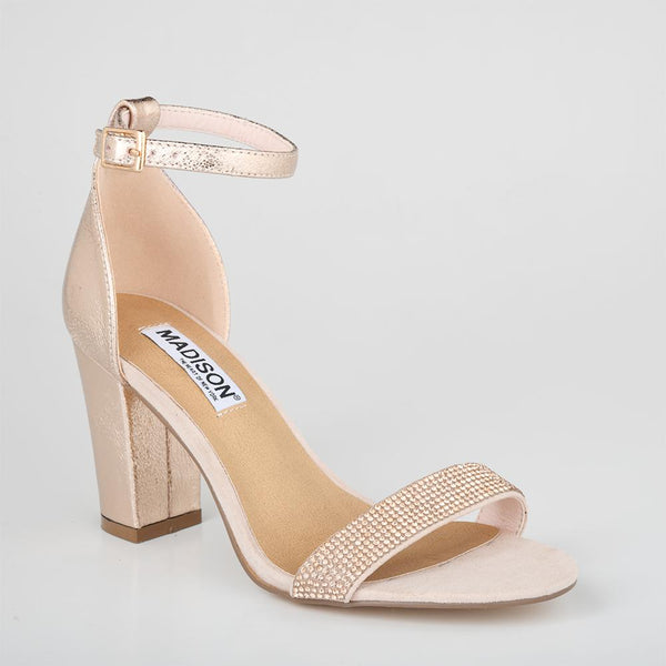 Madison Andi Rose Gold Block Heels-Madison Heart of New York-Buy shoes online
