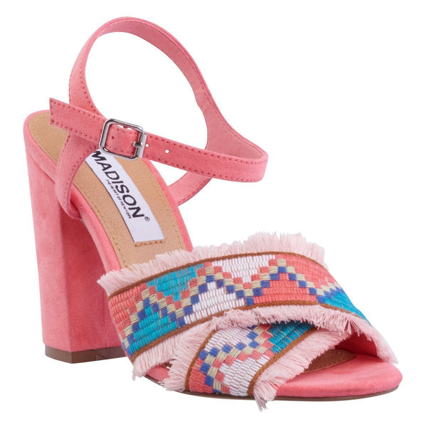 Madison Aria Coral Suede Block Heels
