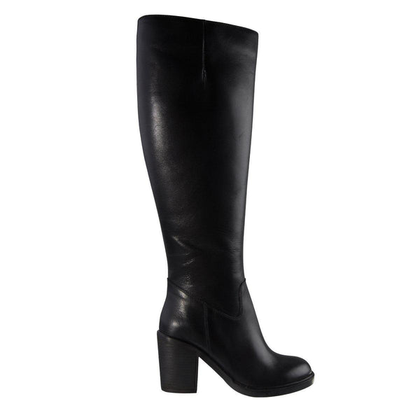 Madison Bianca Black Leather Boots-Madison Heart of New York-Buy shoes online