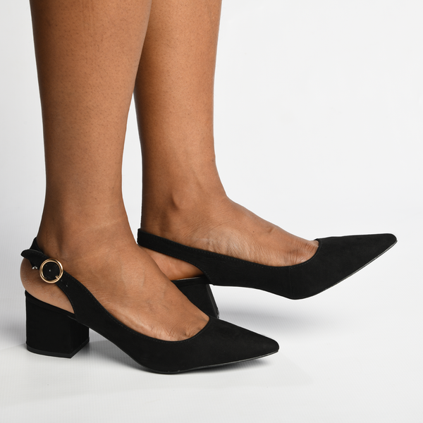 Madison Blakely Black Slingback Block Heels