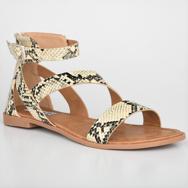 Madison Bridget Snake Print Gladiator Flats-Madison Heart of New York-Buy shoes online