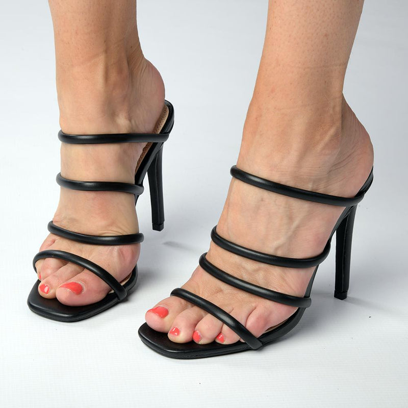 Madison Elinor Stiletto Mule Sandal - Black-Madison Heart of New York-Buy shoes online