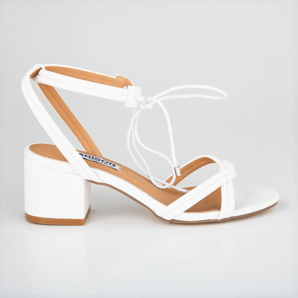 Madison Ember White Low Block Heels-Madison Heart of New York-Buy shoes online
