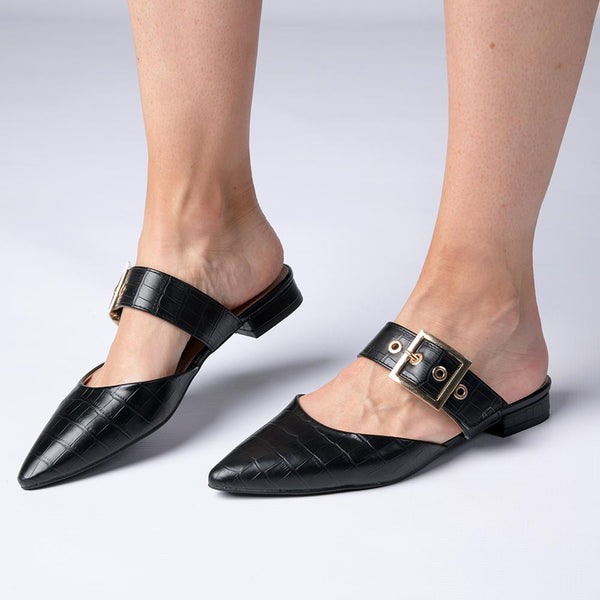 Madison Goldy Buckle Detail Slip On Mule - Black-Madison Heart of New York-Buy shoes online