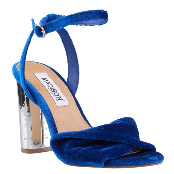 Madison Gracie Cobalt Blue Velvet Block Heels