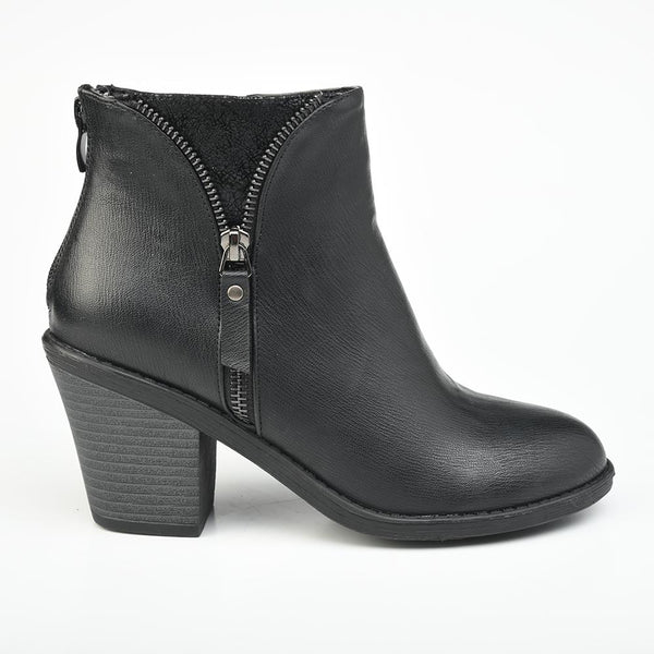 Madison Hayley Side Zip Boot - Black-Madison Heart of New York-Buy shoes online