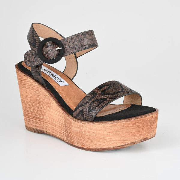 Madison Kloe Brown Snake Wedge-Madison Heart of New York-Buy shoes online
