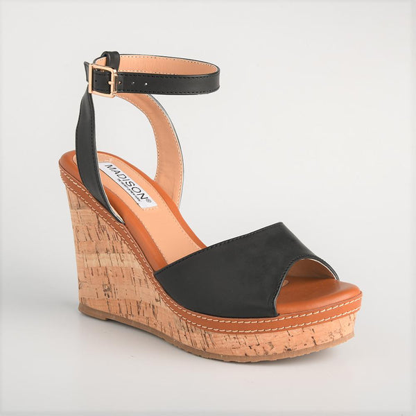 Madison Marlee Black Wedges-Madison Heart of New York-Buy shoes online