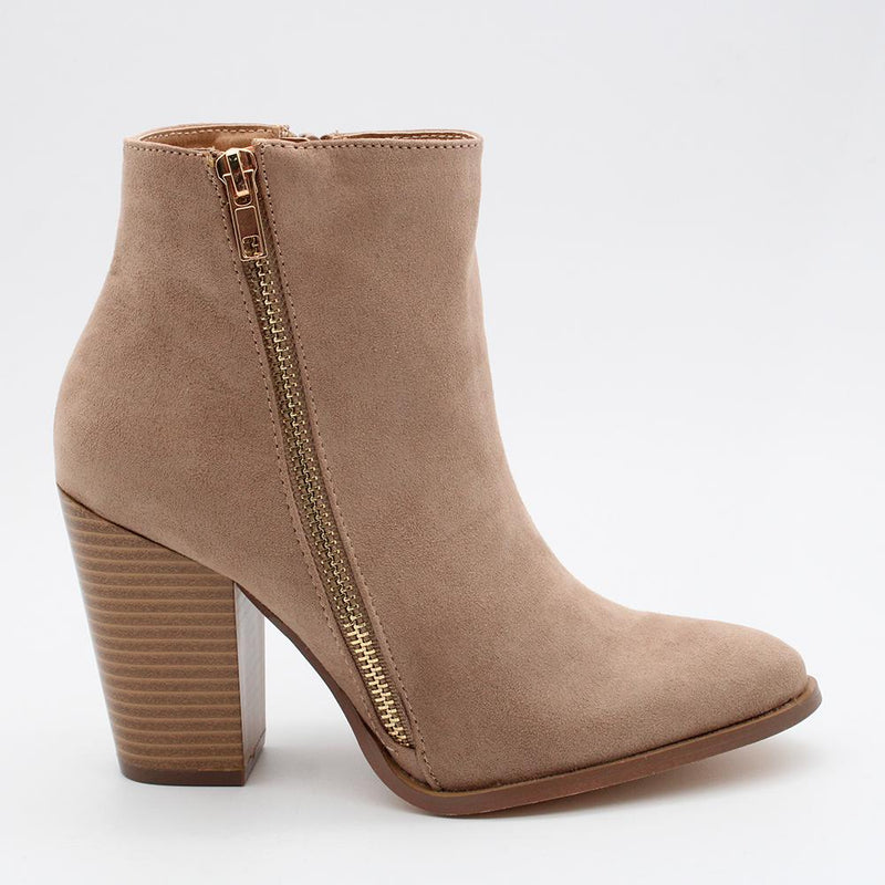 Madison Sheree Side Zip Boot - Taupe-Madison Heart of New York-Buy shoes online