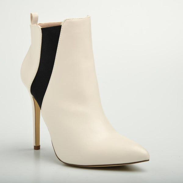 Madison Meg White High Heel Ankle Boots