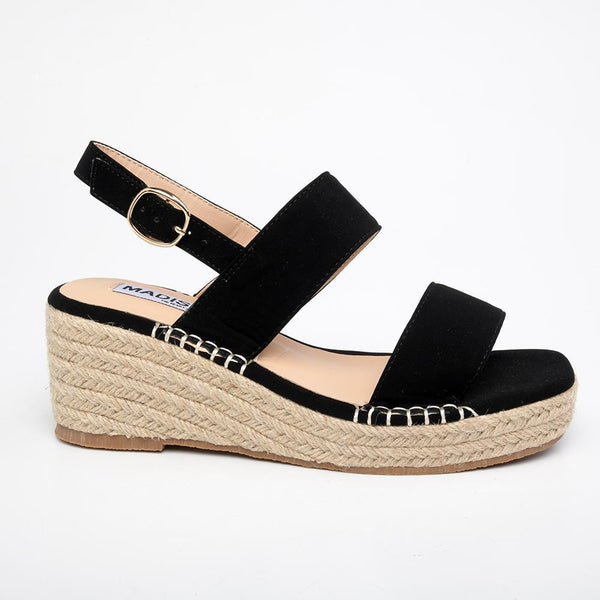 Piper Wedge Sandals - Black-Madison Heart of New York-Buy shoes online