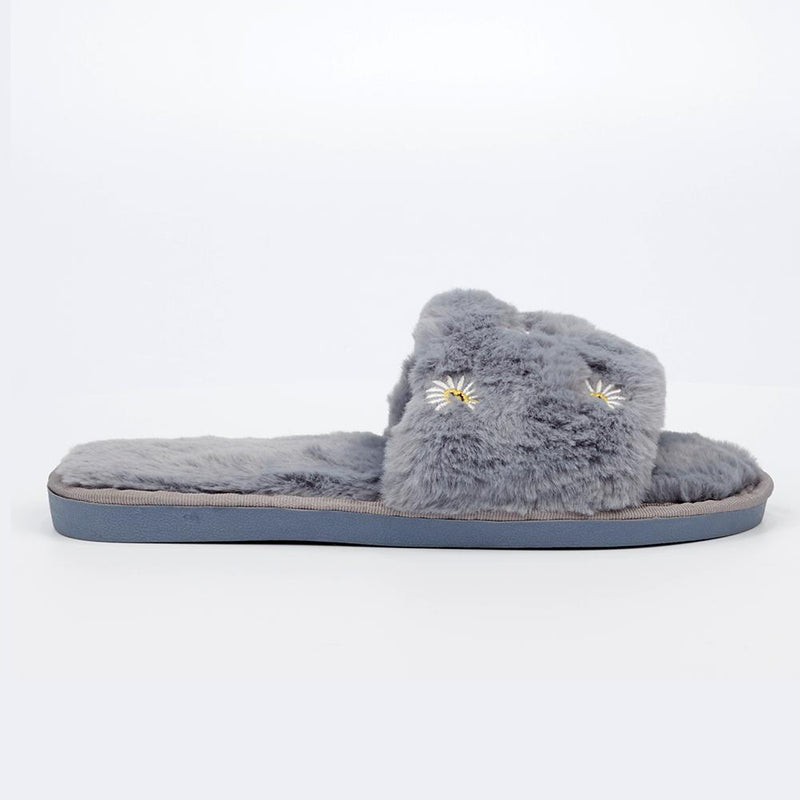 Rella 2 Fur Slippers With Flower Embroidery - Grey-Miss Black-Buy shoes online