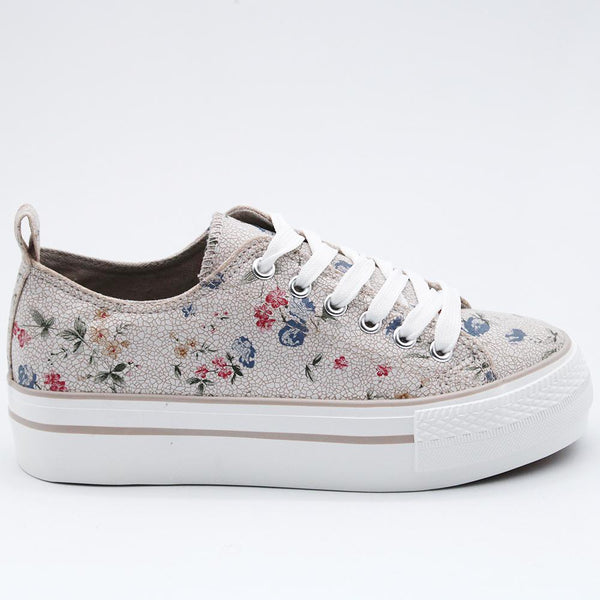 Savoy Women's Printed Floral Sneakers - Taupe-Paradise-Buy shoes online