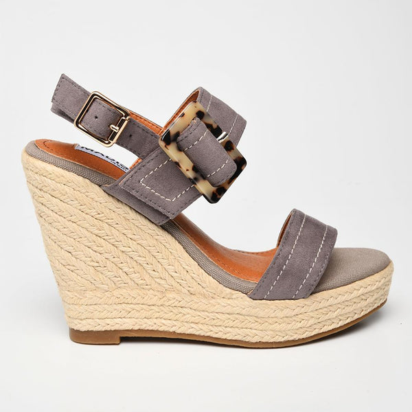 Sway Buckle Wedges - Grey-Madison Heart of New York-Buy shoes online