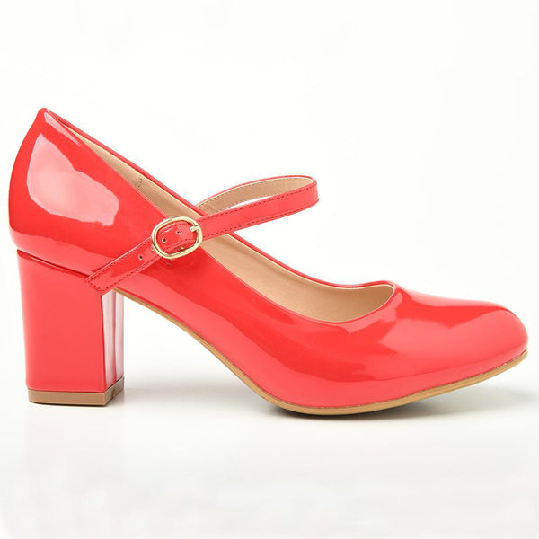 Women's Mary Patent Block Heel Courts - Red-Franco Rossi-Buy shoes online