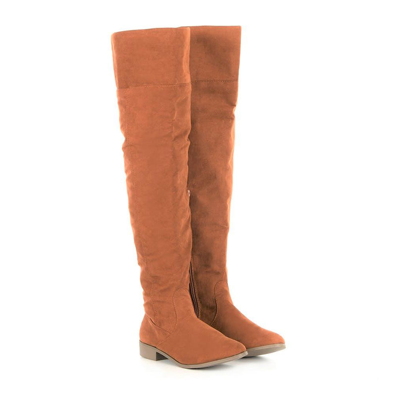 Zinnia Women's Ivy Over The Knee Boots - Tan-Zinnia-Buy shoes online