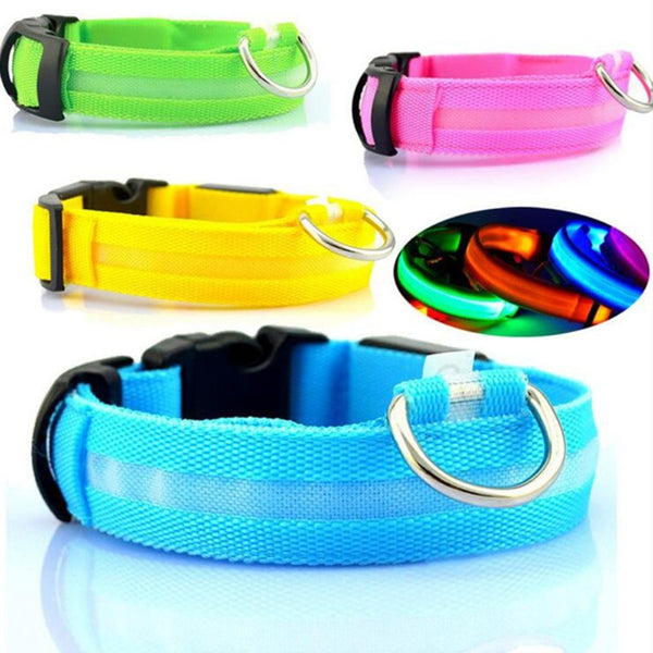 Nylon LED Pet Dog Collar Night Safety