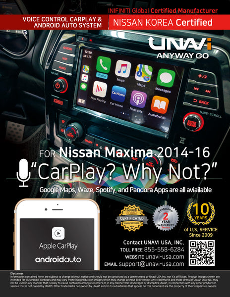 Nissan Maxima Apple CarPlay and Android Auto Retrofit upgrade interface module