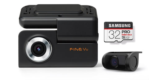 FineVu GX30 | 2 Channel Dash Cam | Full HD | GPS & WiFi built-in | 32 GB SD Card