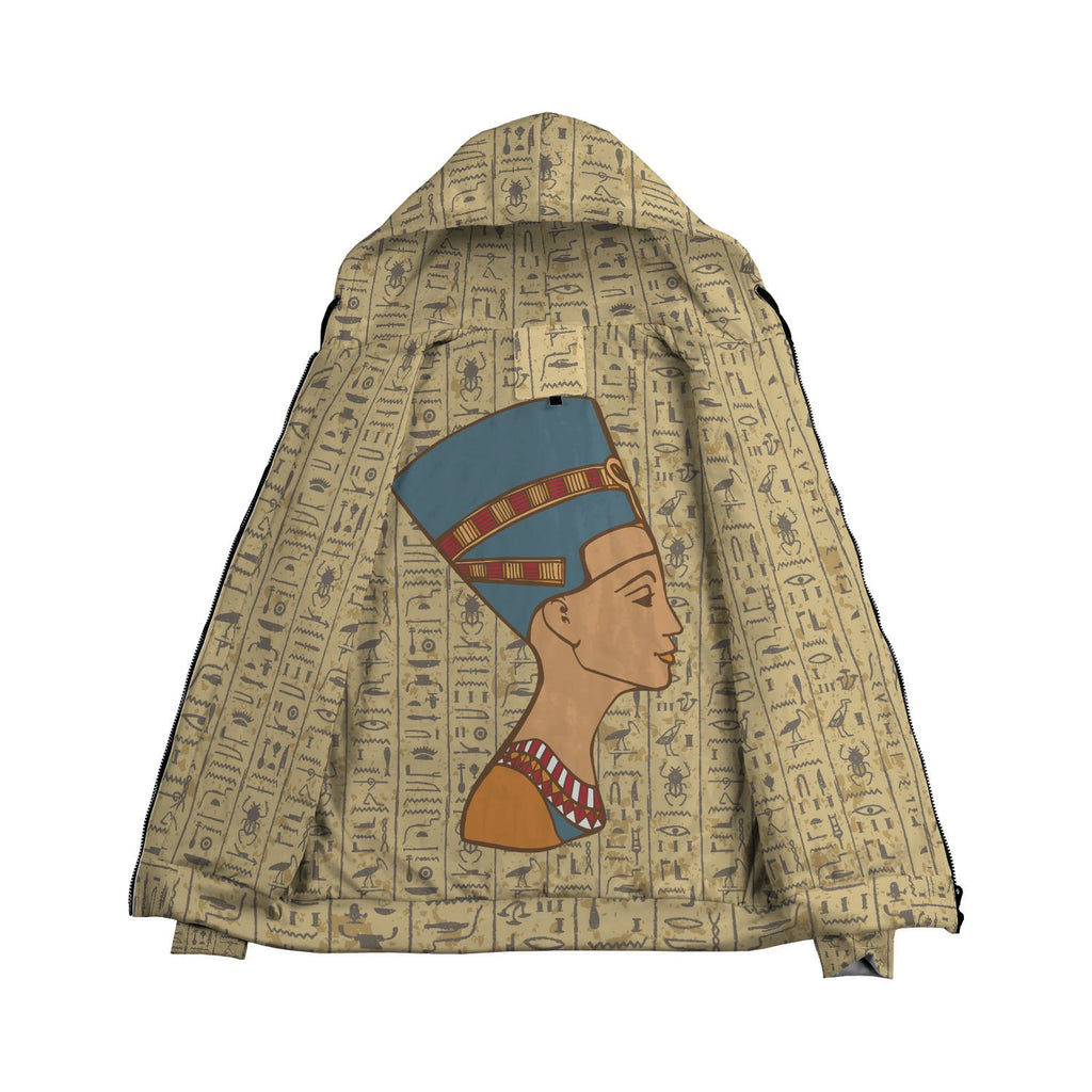 Nefertiti Egyptian Zip Hoodie all-over print - Pharao Store