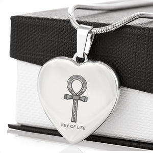 Ankh Engraved Egyptian Necklace Heart - Pharao Store